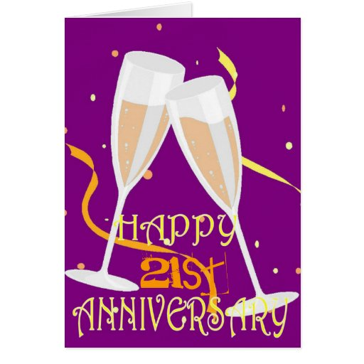 Gifts For 21st Wedding Anniversary: Happy 21st Anniversary Champagne Celebration Card