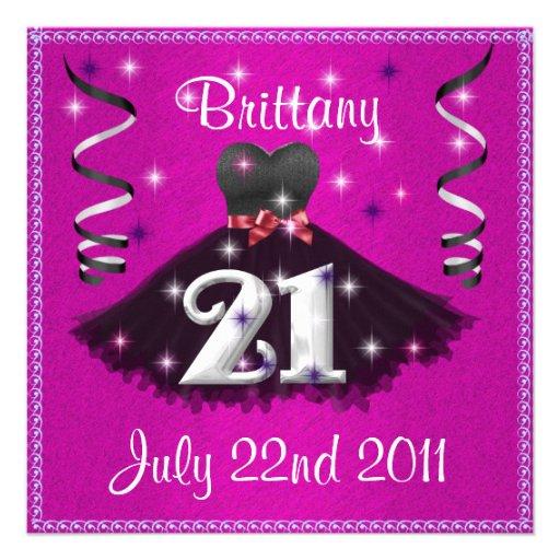 Happy 21st Birthday Party Invitations For Girls 5.25