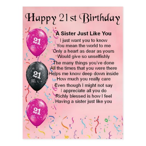 Happy 21st Birthday - Sister Poem Postcard