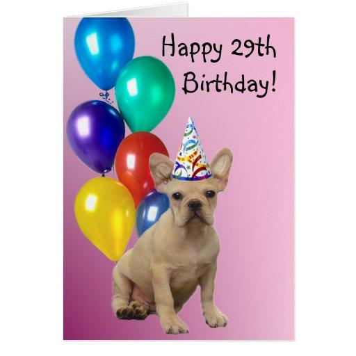 Happy 29th Birthday French Bulldog Greeting Card