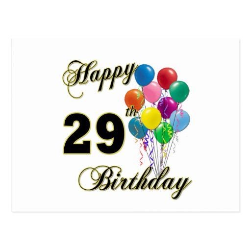 Happy 29th Birthday Gifts With Balloons Postcard