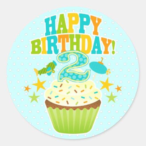 Happy 2nd Birthday Cupcake (Boys) Classic Round Sticker