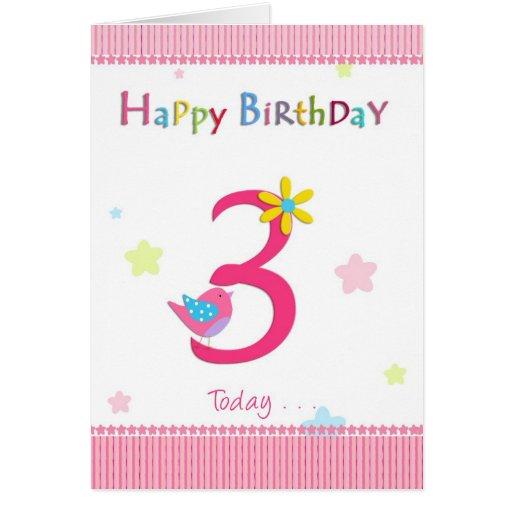 Happy 3rd Birthday Girl Greeting Card