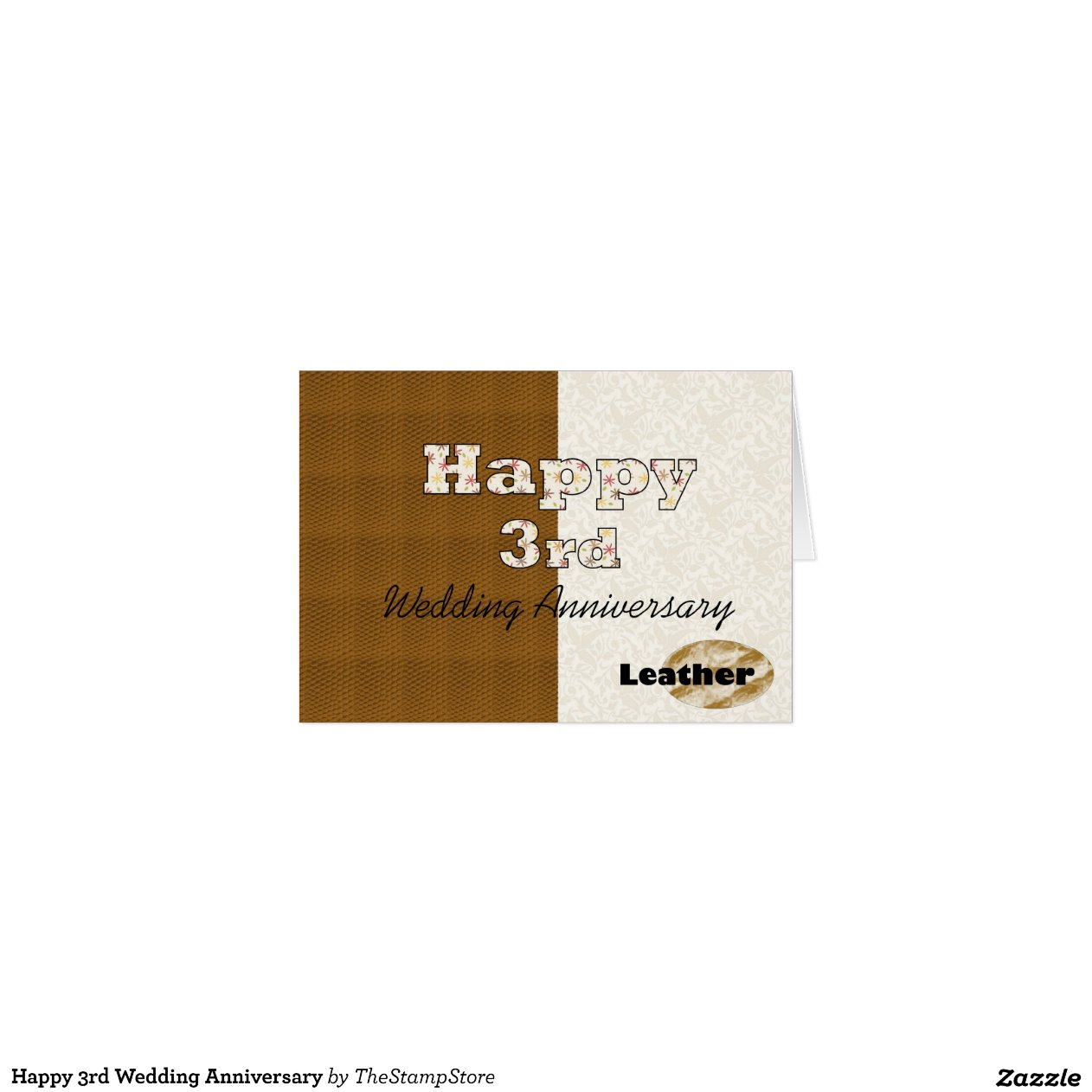 What Is 3rd Wedding Anniversary Gift: Happy 3rd Wedding Anniversary Greeting Card
