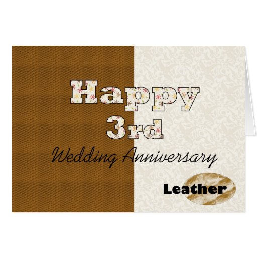 Gifts For 3rd Wedding Anniversary: Happy 3rd Wedding Anniversary Greeting Card