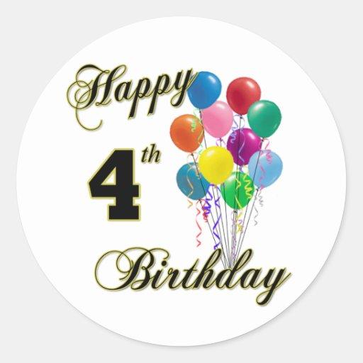 Happy 4th Birthday Sticker And Birthday Apparel