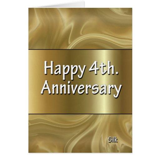 4th Wedding Anniversary: Happy 4th. Wedding Anniversary Silk Cards