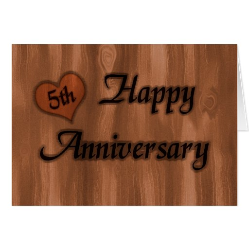 5th Year Wedding Anniversary Gift: Happy 5th Anniversary (wedding Anniversary) Card