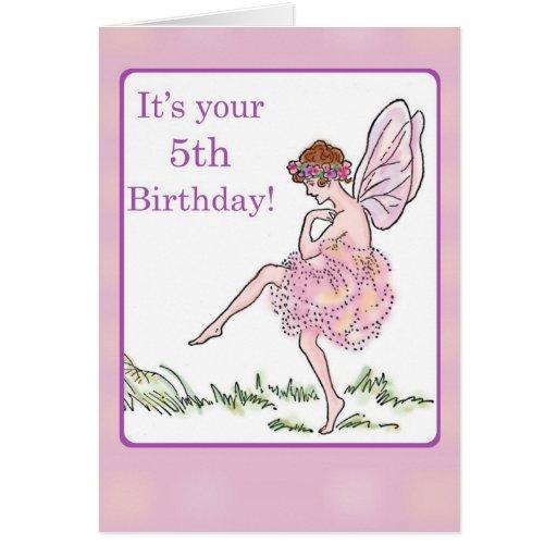 Happy 5th Birthday Fairy for Girl Greeting Card   Zazzle