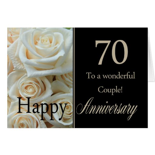 70 Year Wedding Anniversary Gifts: Happy 70th Anniversary Roses Card