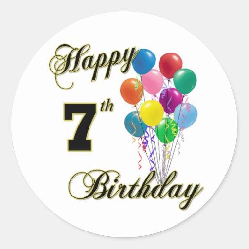 Happy 7th Birthday Sticker And Birthday Apparel
