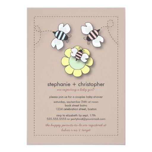 Family Baby Shower Invitations: Happy Bee Family Couples Baby Shower Invitation