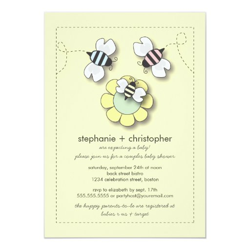 """Family Baby Shower Invitations: Happy Bee Family Couples Neutral Baby Shower 5"""" X 7"""