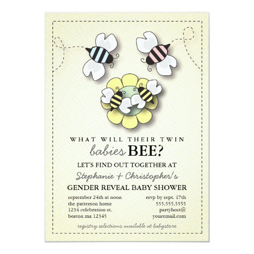 """Family Baby Shower Invitations: Happy Bee Family Twins Gender Reveal Baby Shower 5"""" X 7"""