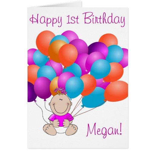 Happy Birthday Balloons Baby Girl Greeting Card | Zazzle