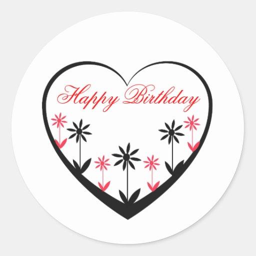 Happy Birthday, black heart, red, black flowers Round ...