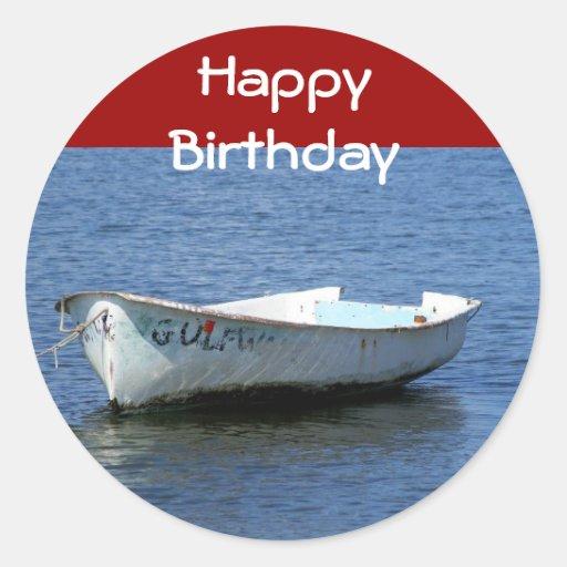 Happy Birthday, Boat Classic Round Sticker