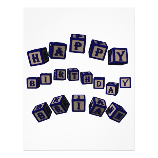 "Happy Birthday Brian Toy Blocks In Blue. 8.5"" X 11"" Flyer"