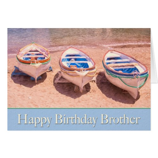 Happy Birthday Brother Row Boats Card