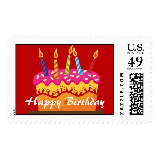 Birthday Cake Postage Stamps