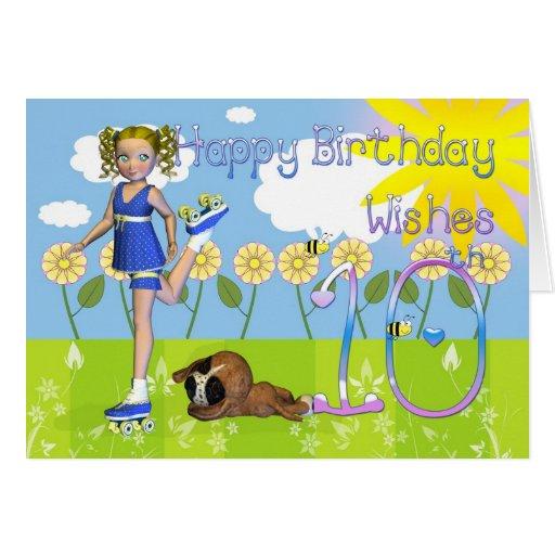 Happy Birthday Card Cute Little Girl 10th Birthday