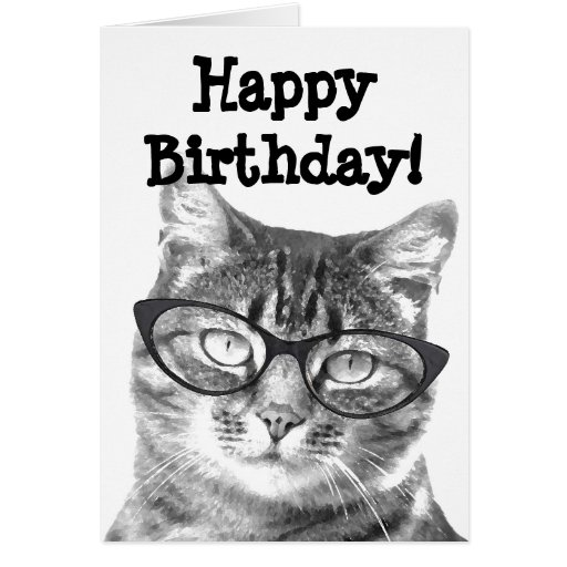 happy birthday card with funny cat design  zazzle