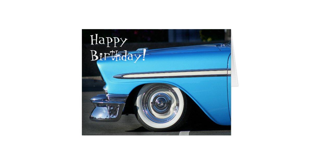 Happy Birthday Classic car greeting card | Zazzle