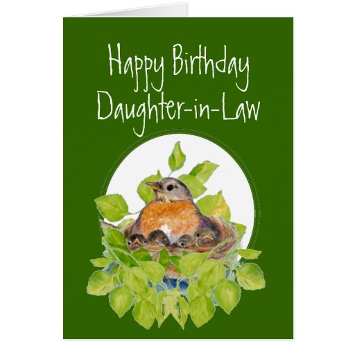 Happy Birthday Daughter-in-Law Robin On Nest Greeting Card