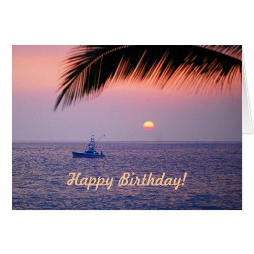 Happy Birthday Fishing Boat Tropical Sunset Card
