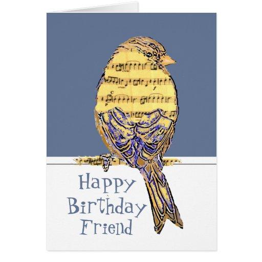 Happy Birthday Friend Musician Fun Music Note Bird