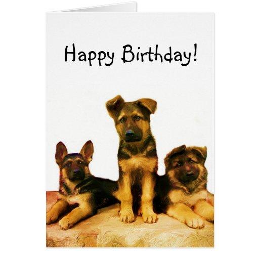 Happy Birthday German Shepherd puppies card | Zazzle