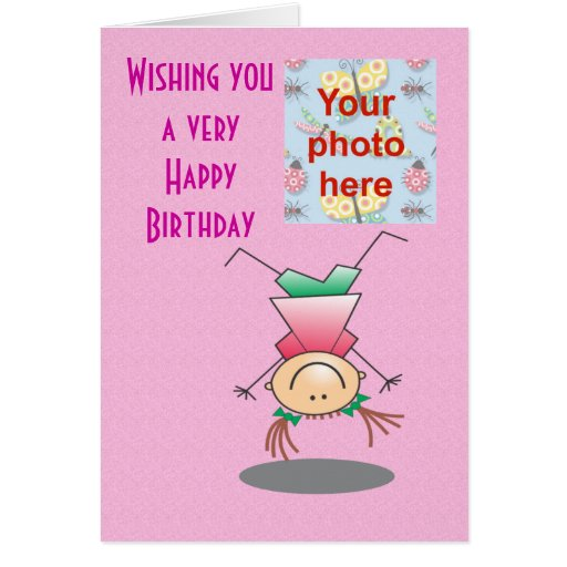 Happy Birthday Girls Doing Handstands Add Photo Card