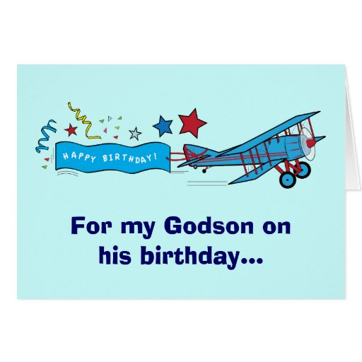 Happy Birthday Godson Airplane Greeting Card