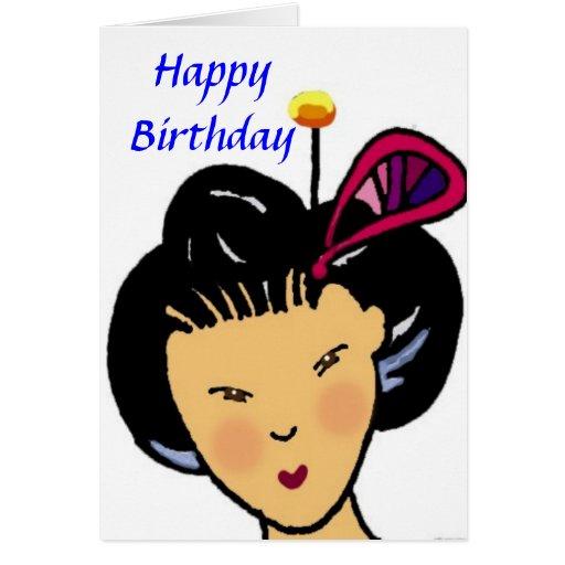 Happy Birthday Japanese Girl Card