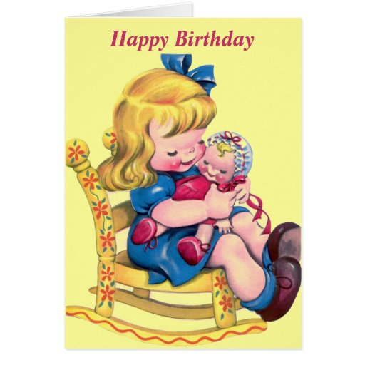 Happy Birthday - Little Girl with Doll Greeting Card | Zazzle