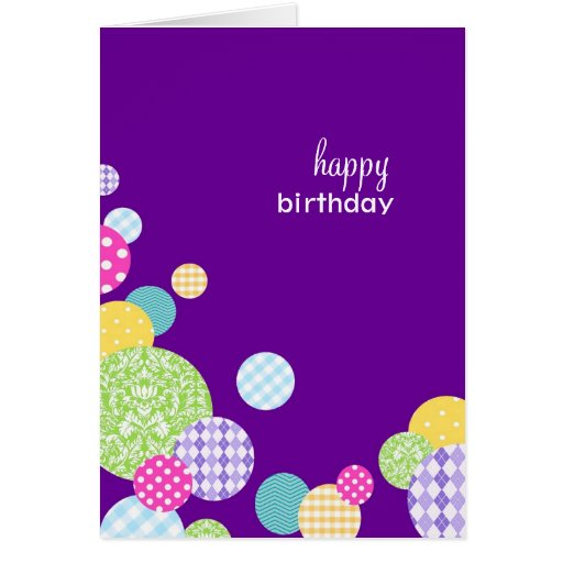 happy birthday modern purple polka dots greeting cards zazzle. Black Bedroom Furniture Sets. Home Design Ideas