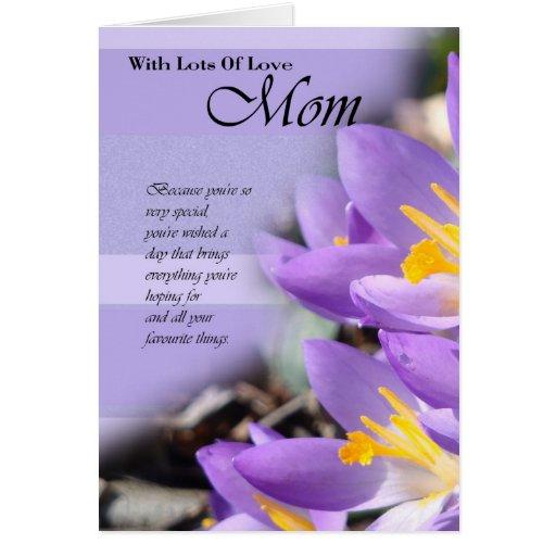 happy birthday mom mom card with crocus  zazzle