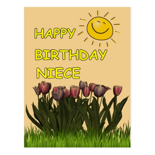 Happy Birthday Niece Sun And Flowers Post Cards