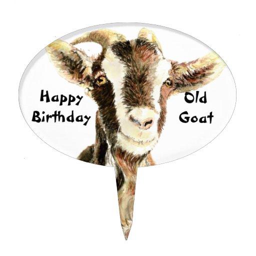 Happy Birthday Old Goat Humor Cake Topper