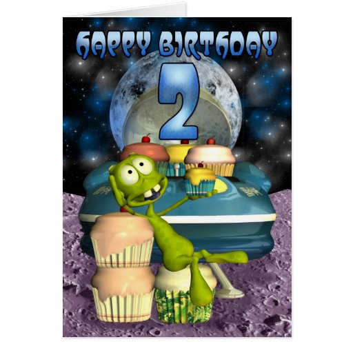 Happy Birthday , Out Of This World, Alien With Cup Card