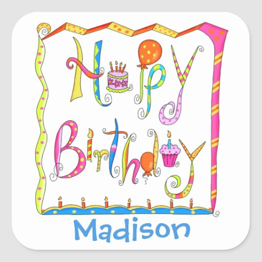 Happy Birthday Party Name Personalized White Square
