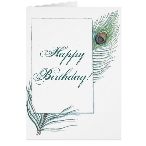 Happy Birthday Peacock Feather Inspirational Card