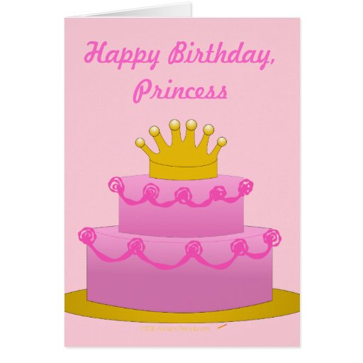 Happy Birthday Princess Pink Cake With Crown Card