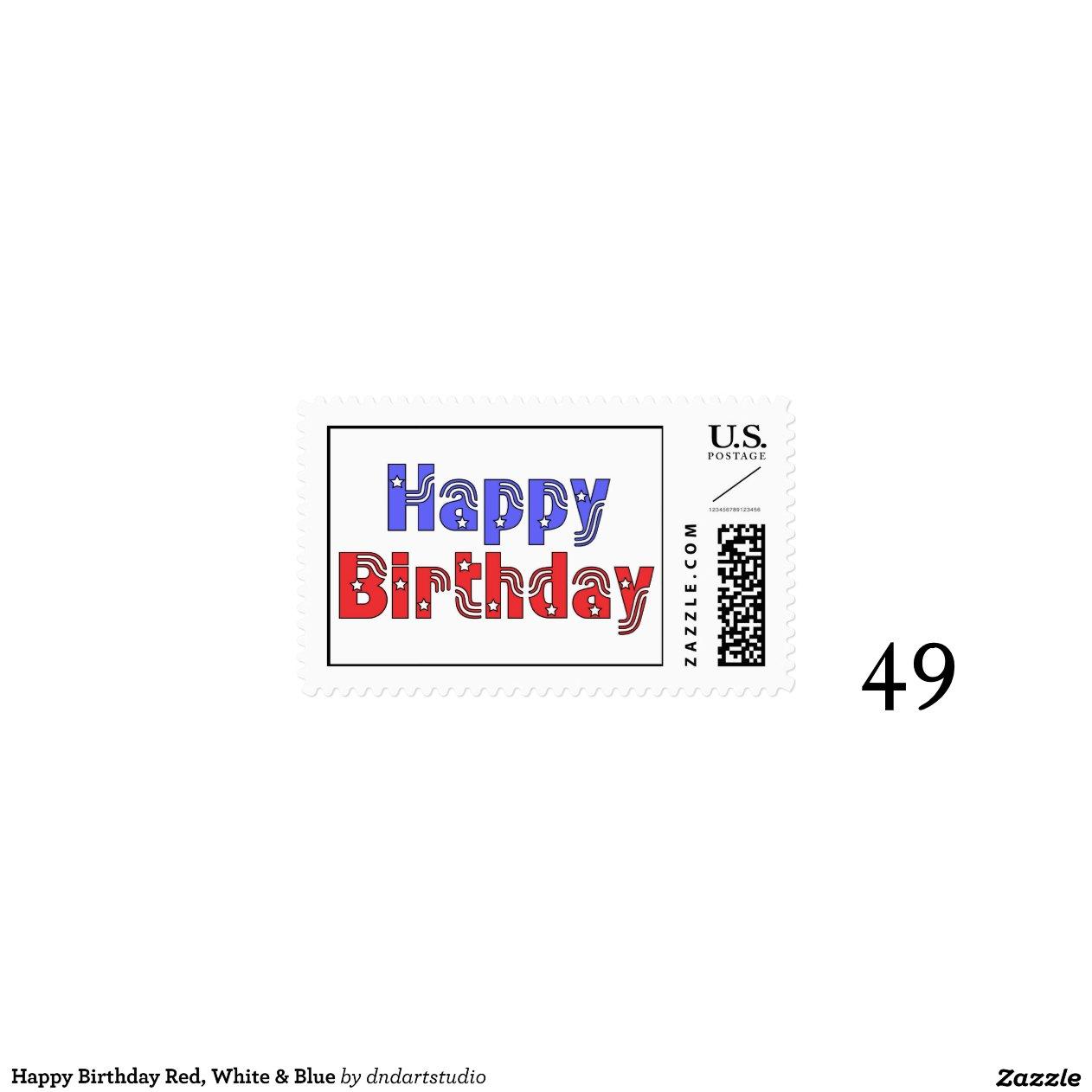 Happy Birthday Red, White & Blue Stamps | Zazzle