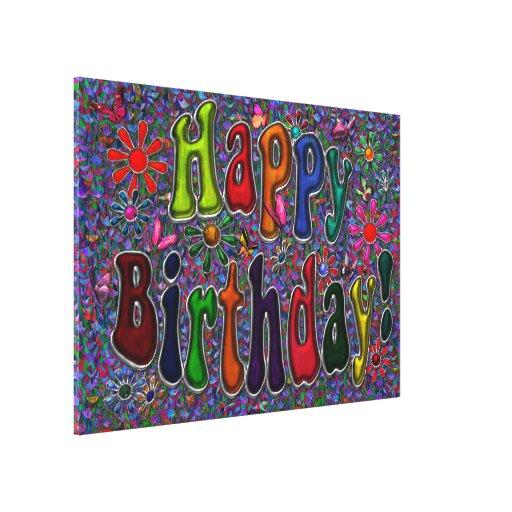 Happy Birthday Retro Floral Art Gallery Wrapped Canvas