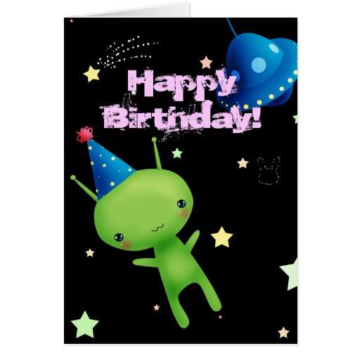 Happy Birthday Space Alien Greeting Card