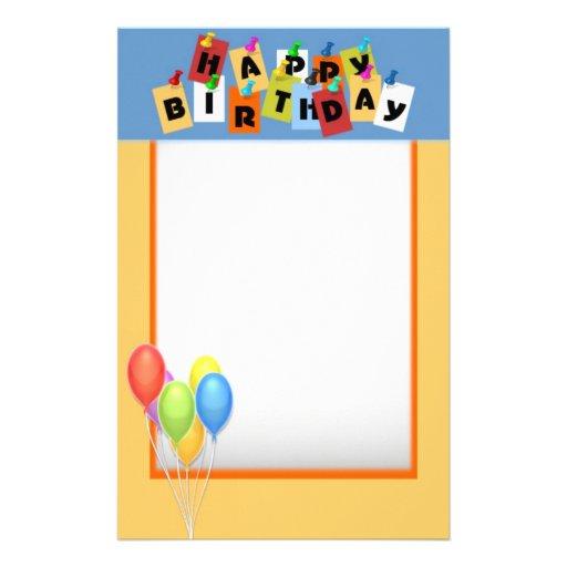 Happy Birthday Stationery