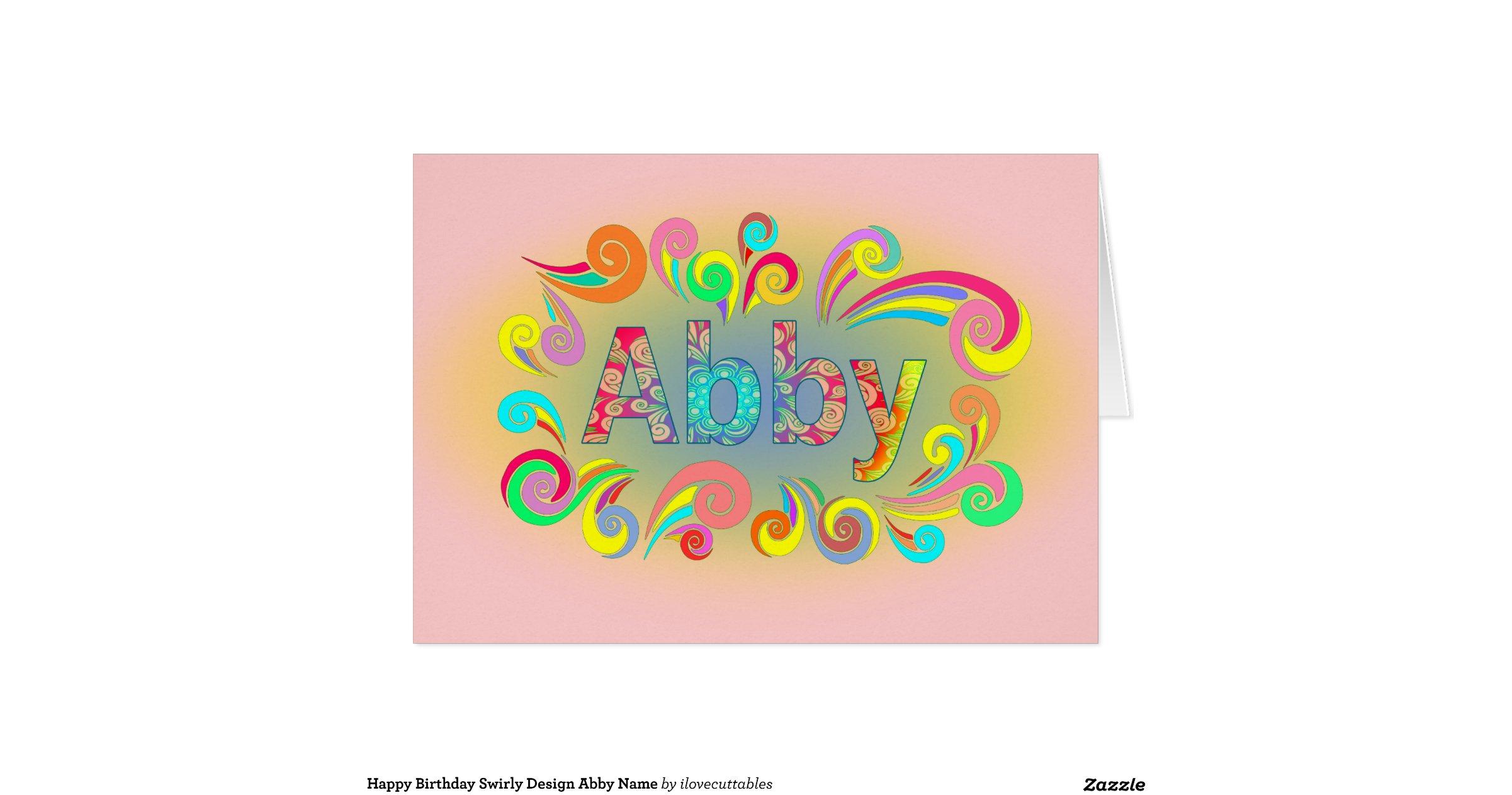 Happy Birthday Swirly Design Abby Name Greeting Card Zazzle