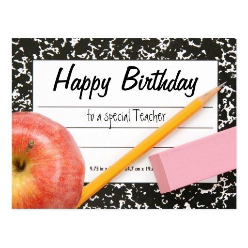 happy birthday teacher postcard  zazzle