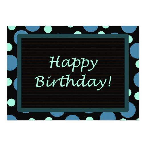 Happy Birthday! Teal Blue Dots 5x7 Paper Invitation Card